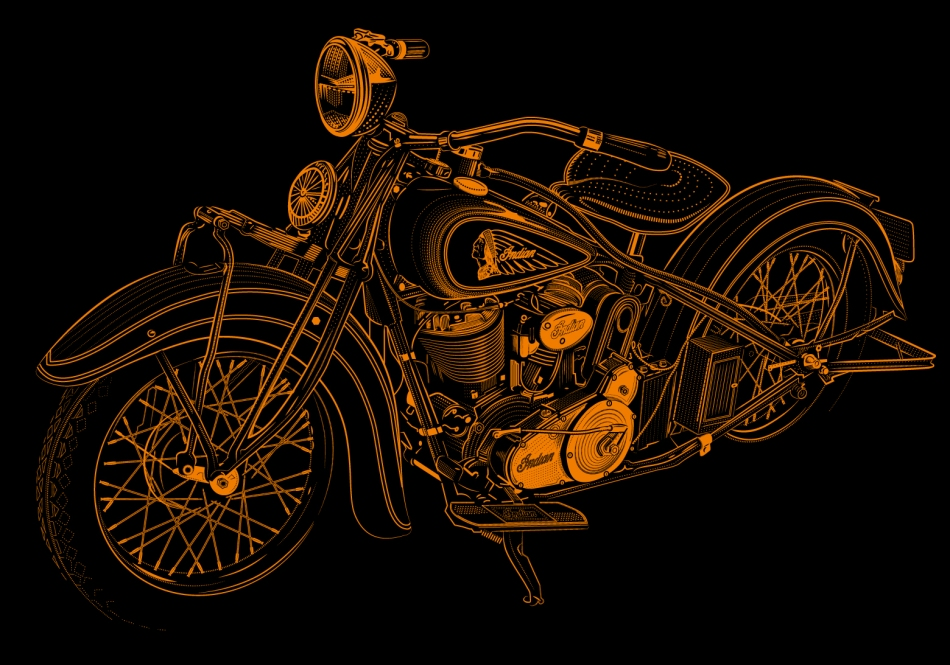 Golden Indian Motorcycle 1934 by tekcran