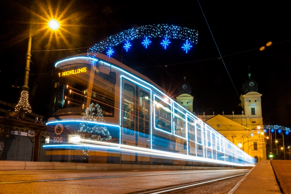 Christmas tram in Debrecen by Zsolt Czegledi