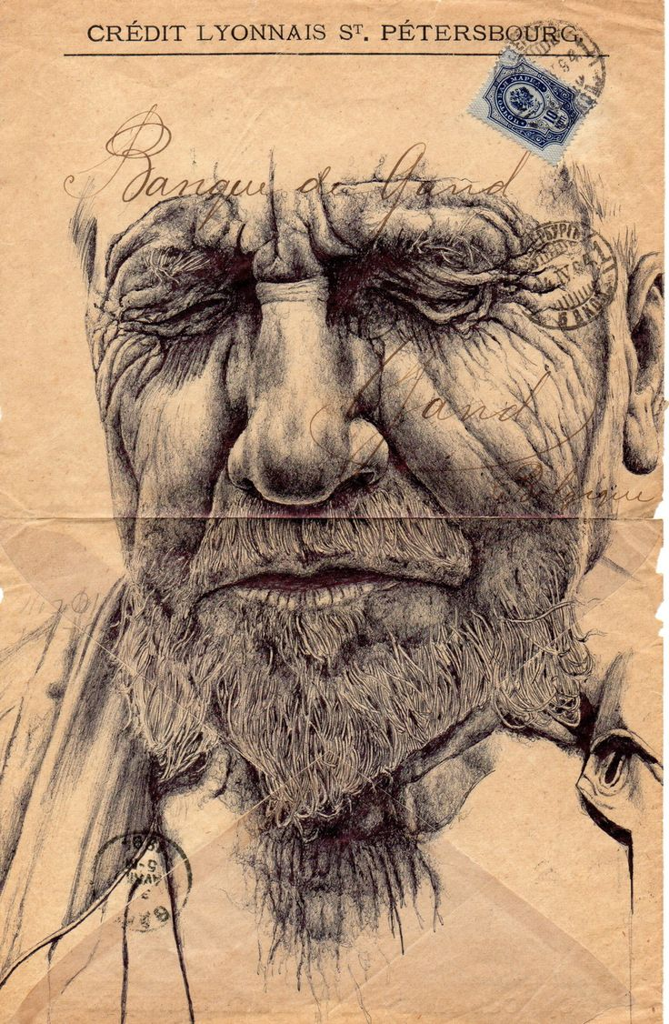 pen drawing on old envelope by Mark Powell