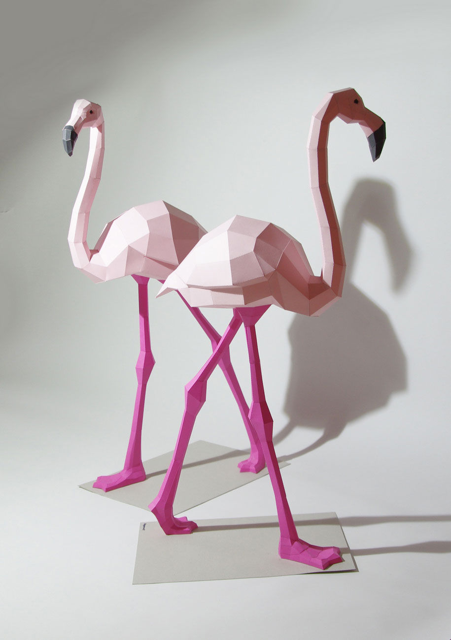 pink flamingo paper sculptures by Wolfram Kampffmeyer